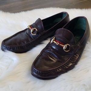B2G1 VTG Gucci Green/Red Stripe Horsebit Loafers